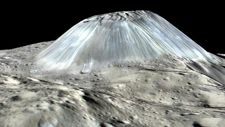 Computer-generated image of Ahuna Mons, with elevation exaggerated by a factor of two (1 September 2016).