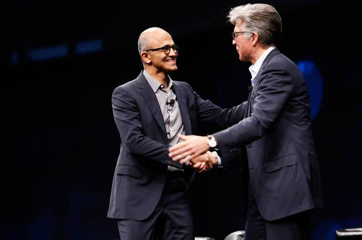 Satya Nadella and Bill McDermott.
