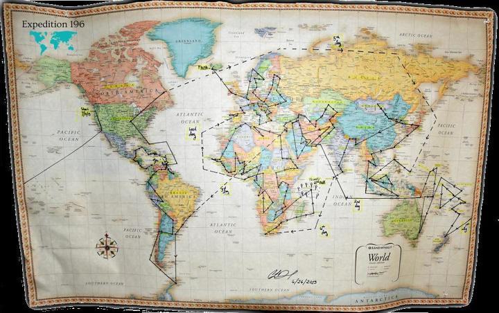 The map of De Pecol's world journey. (Photo courtesy of Cassie De Pecol)